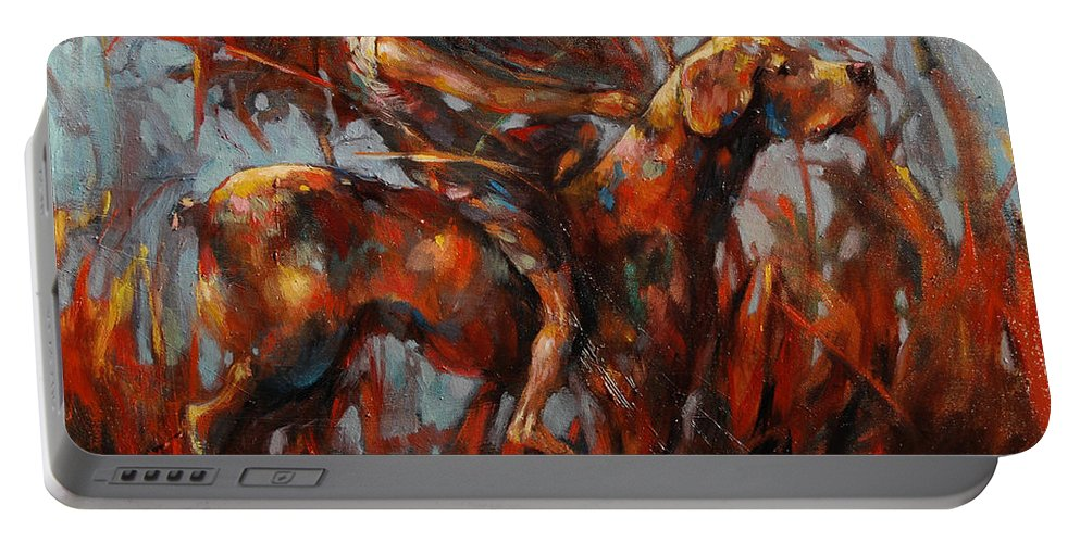 Long Journeys Dream Portable Battery Charger featuring the painting Long Journeys Dream by Michal Kwarciak