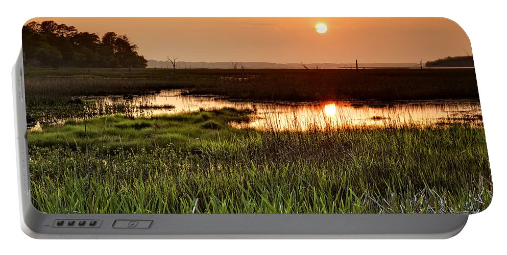 Beaufort County Portable Battery Charger featuring the digital art Long Marsh View by Phill Doherty