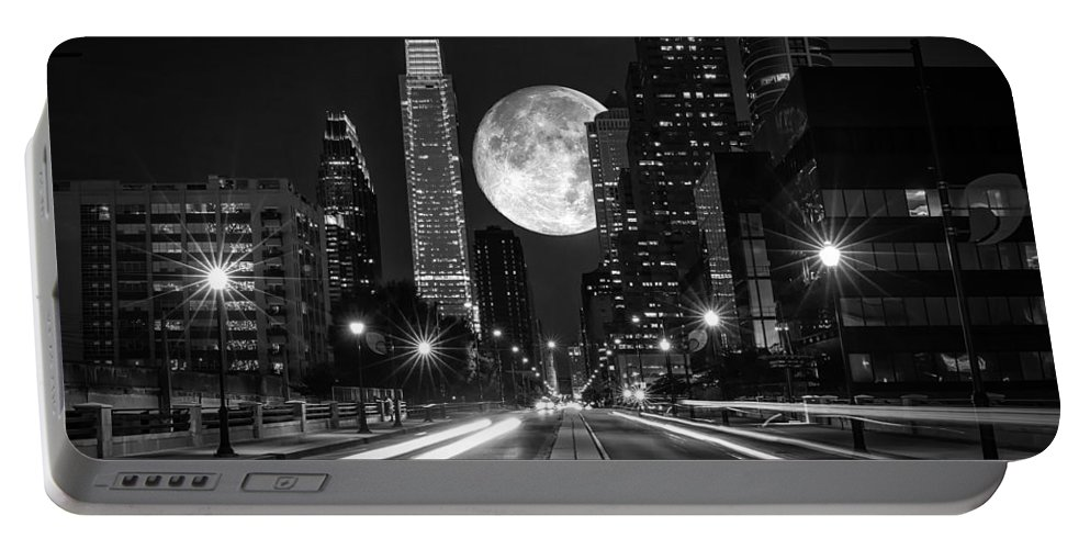 Landscape Portable Battery Charger featuring the photograph Long Nights Moon by Rob Dietrich