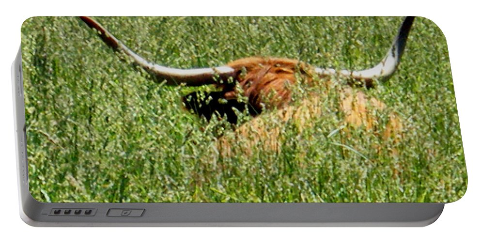 Bull Portable Battery Charger featuring the photograph Longhorn by April Patterson
