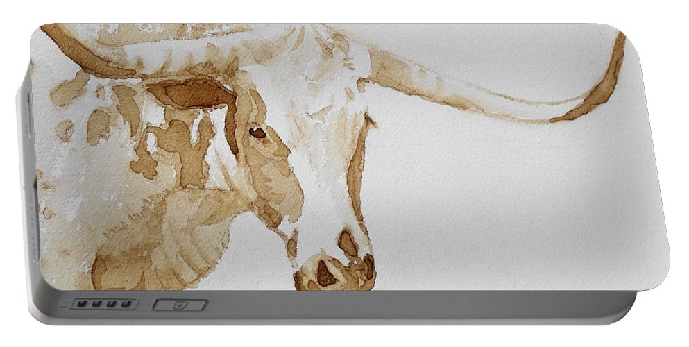 Coffee Portable Battery Charger featuring the painting Longhorn by Judy Fischer Walton