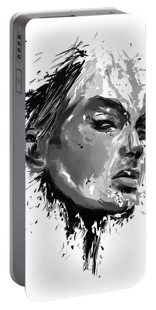 Look Portable Battery Charger featuring the mixed media I See You by Balazs Solti