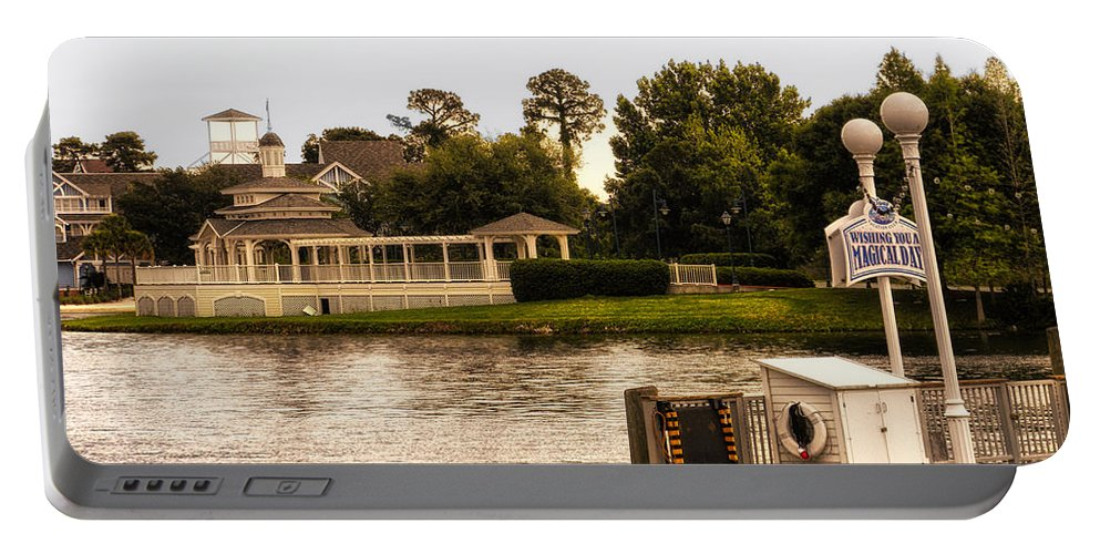 Epcot Portable Battery Charger featuring the photograph Looking At The Boardwalk Gazebo Walt Disney World by Thomas Woolworth