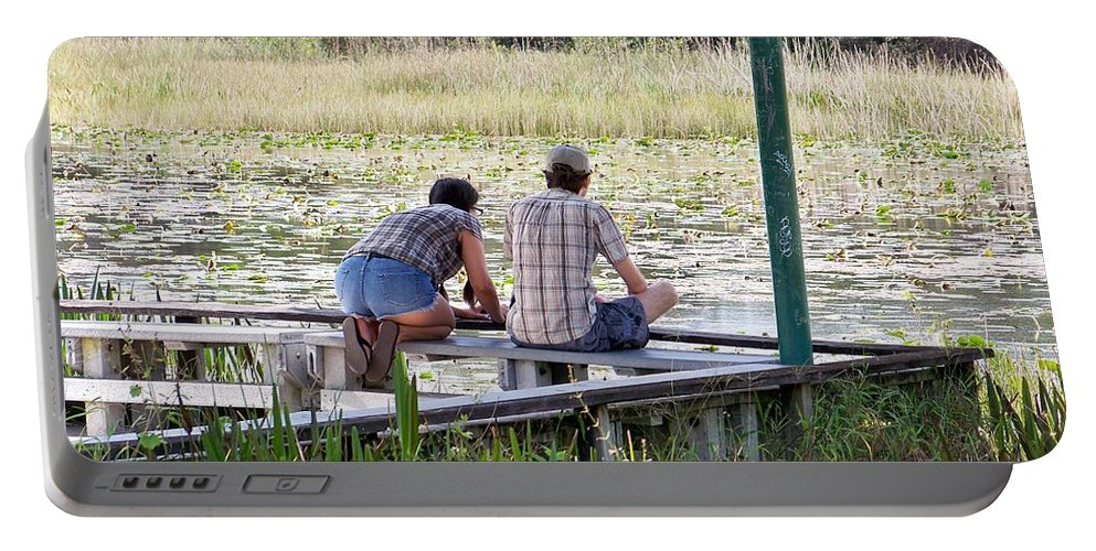 Marsh Portable Battery Charger featuring the photograph Looking At The Marsh by Chuck Hicks