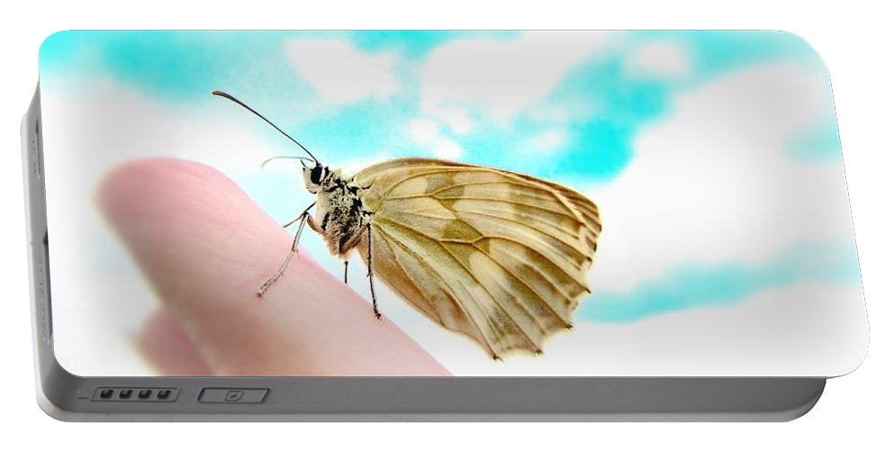 Butterfly Portable Battery Charger featuring the photograph Looking Back by Marianna Mills