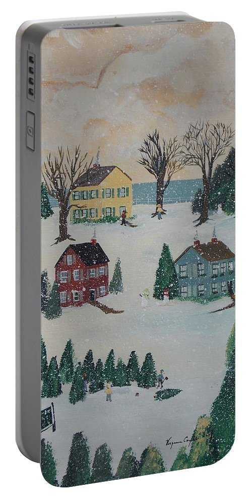 Snow Portable Battery Charger featuring the painting Looking For A Tree by Virginia Coyle