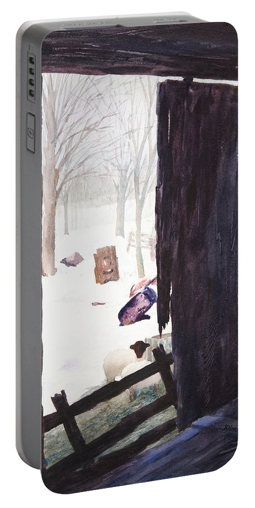 Landscape Portable Battery Charger featuring the painting Looking Out Looking In by Rachel Christine Nowicki