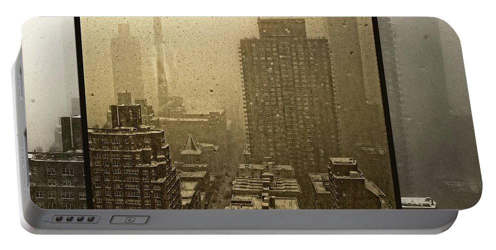 Snow Portable Battery Charger featuring the photograph Looking Out On A Snowy Day - Nyc by Madeline Ellis
