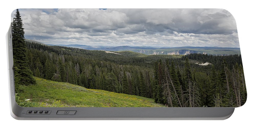 Yellowstone Portable Battery Charger featuring the photograph Looking To The Canyon - Yellowstone by Belinda Greb