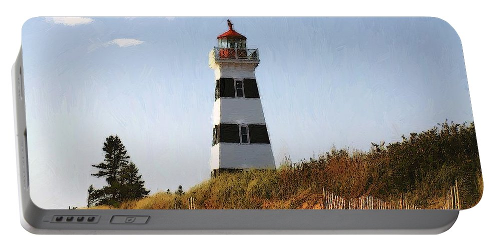 Lighthouse Portable Battery Charger featuring the painting Looking Up From The Dunes At West Point Light by RC DeWinter