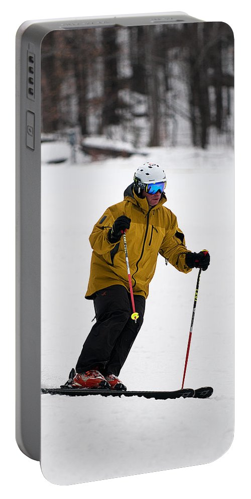 """""""nashua Sprint Y-triathlon"""" Portable Battery Charger featuring the photograph Loon Run 20 by Paul Mangold"""