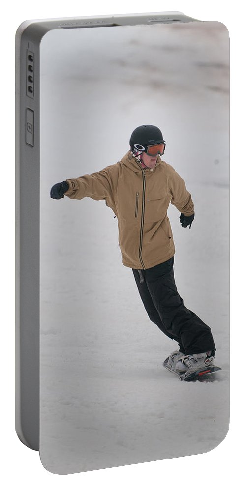 """""""nashua Sprint Y-triathlon"""" Portable Battery Charger featuring the photograph Loon Run 25 by Paul Mangold"""