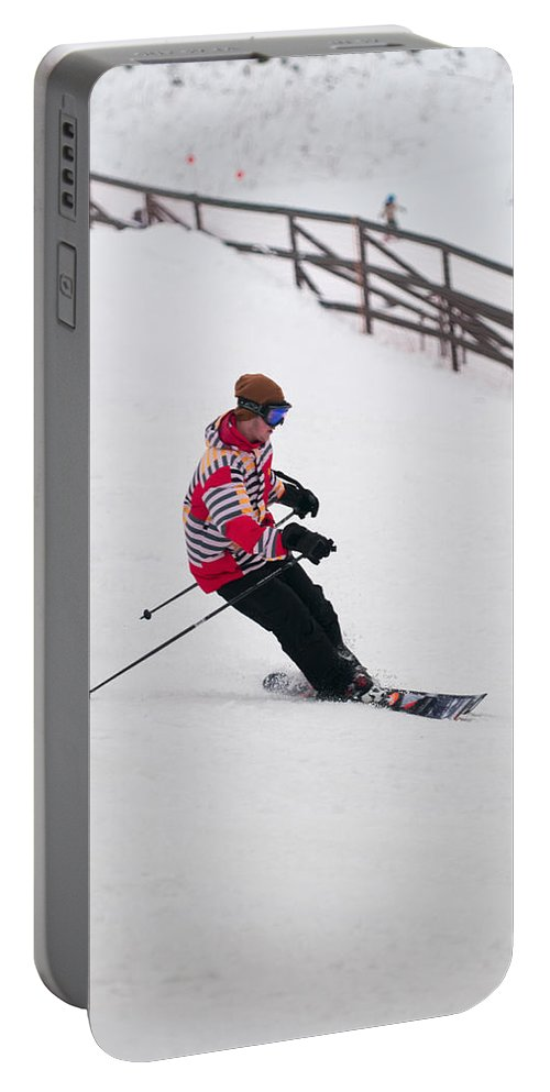 """""""nashua Sprint Y-triathlon"""" Portable Battery Charger featuring the photograph Loon Run 27 by Paul Mangold"""