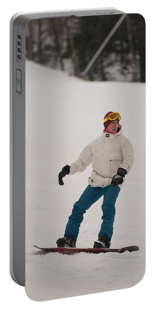 """""""nashua Sprint Y-triathlon"""" Portable Battery Charger featuring the photograph Loon Run 4 by Paul Mangold"""
