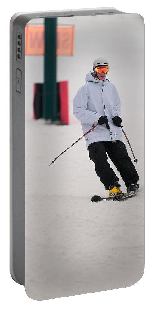 """""""nashua Sprint Y-triathlon"""" Portable Battery Charger featuring the photograph Loon Run 40 by Paul Mangold"""