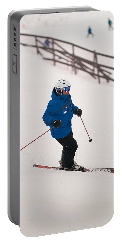 """""""nashua Sprint Y-triathlon"""" Portable Battery Charger featuring the photograph Loon Run 42 by Paul Mangold"""