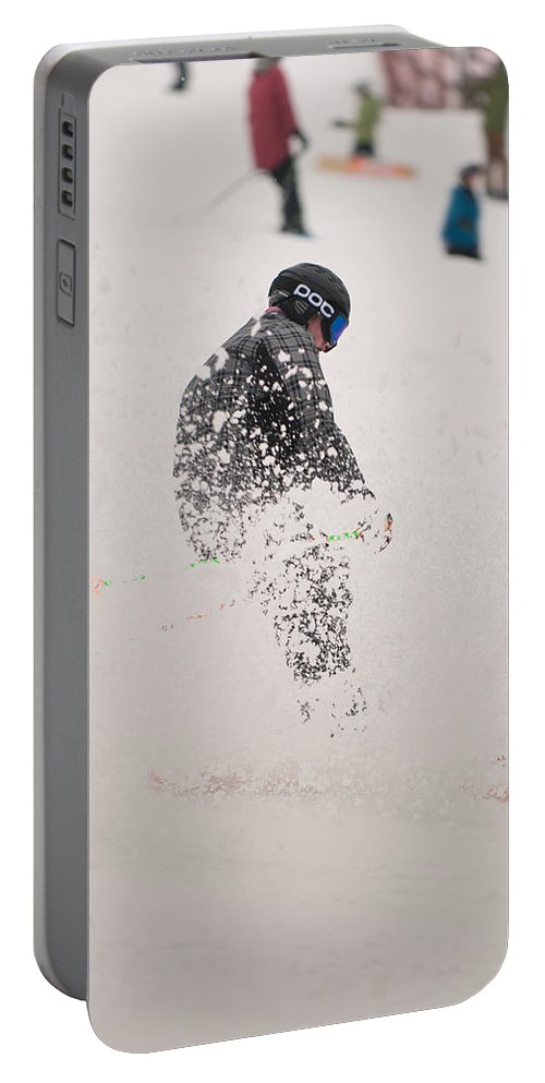 """""""nashua Sprint Y-triathlon"""" Portable Battery Charger featuring the photograph Loon Run 46 by Paul Mangold"""