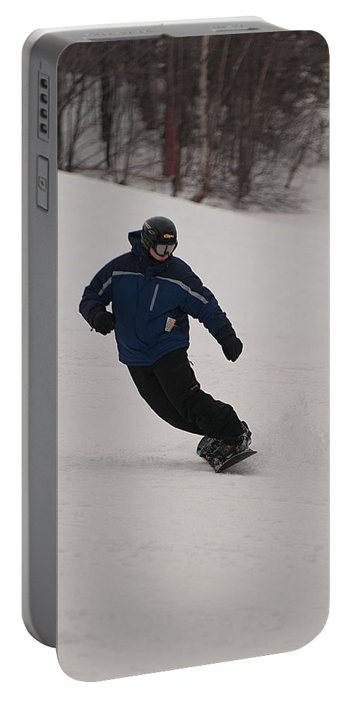 """""""nashua Sprint Y-triathlon"""" Portable Battery Charger featuring the photograph Loon Run 8 by Paul Mangold"""