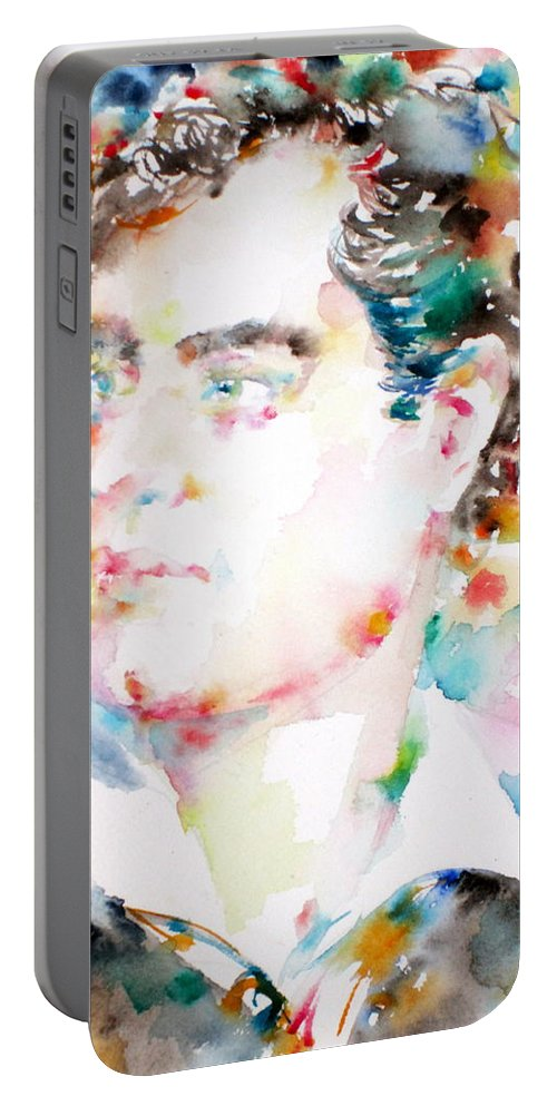 Lord Byron Portable Battery Charger featuring the painting Lord Byron - Watercolor Portrait by Fabrizio Cassetta