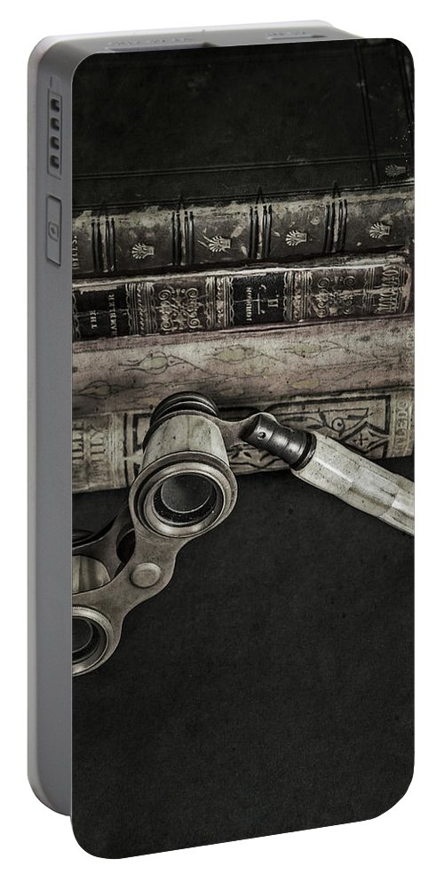 Book Portable Battery Charger featuring the photograph Lorgnette With Books by Joana Kruse