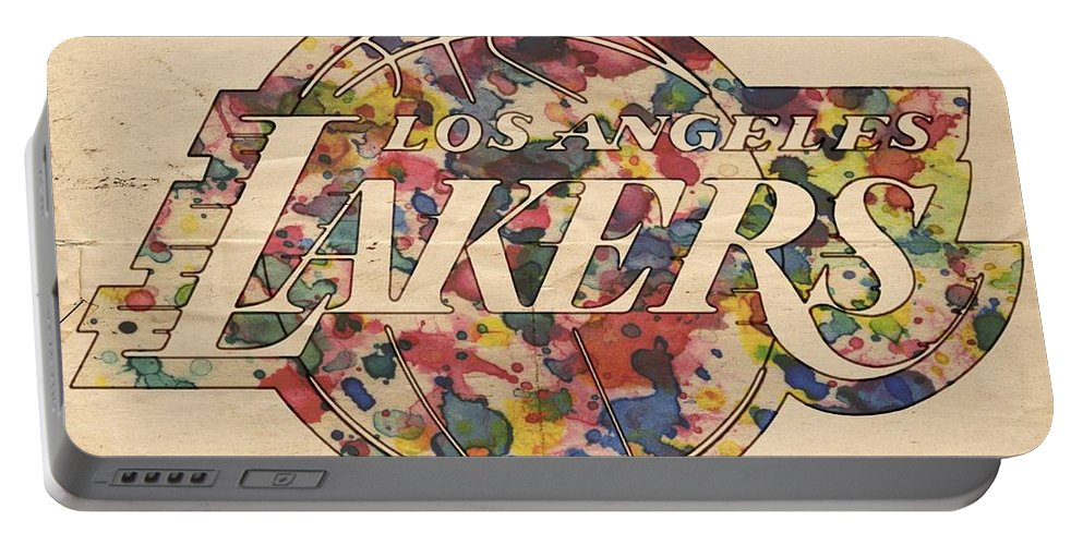 Los Angeles Lakers Portable Battery Charger featuring the painting Los Angeles Lakers Poster Art by Florian Rodarte