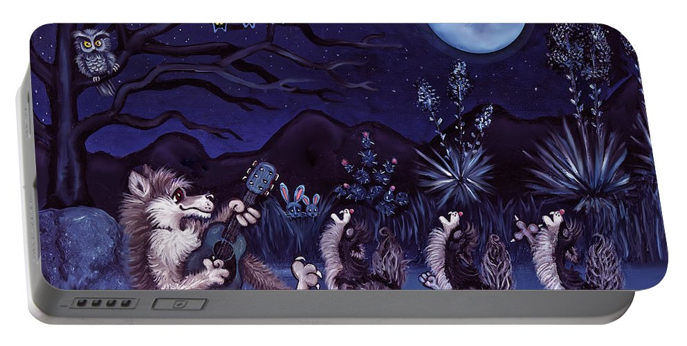 Coyote Portable Battery Charger featuring the painting Los Cantantes Or The Singers by Victoria De Almeida