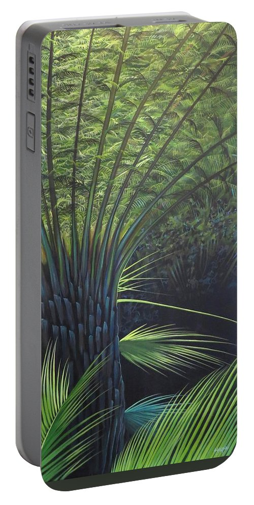 Palm Tree Portable Battery Charger featuring the painting Lost by Hunter Jay