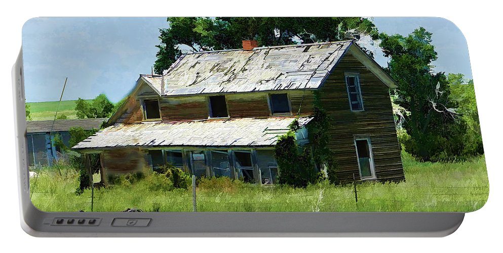 Abandoned House Portable Battery Charger featuring the digital art Lost In Wyoming II by Cathy Anderson