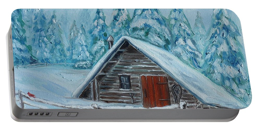 Cabin Portable Battery Charger featuring the painting Lost Mountain Cabin by Julie Brugh Riffey
