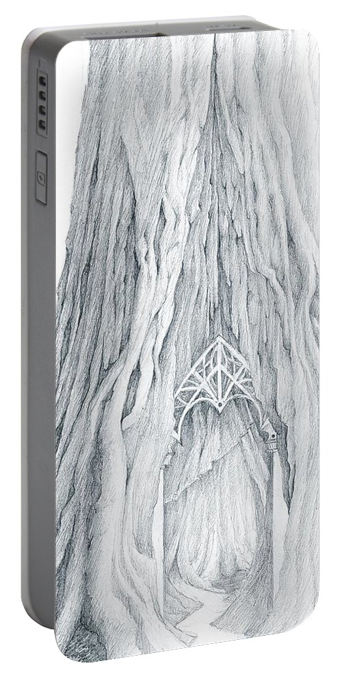 Lothlorien Portable Battery Charger featuring the drawing Lothlorien Mallorn Tree by Curtiss Shaffer