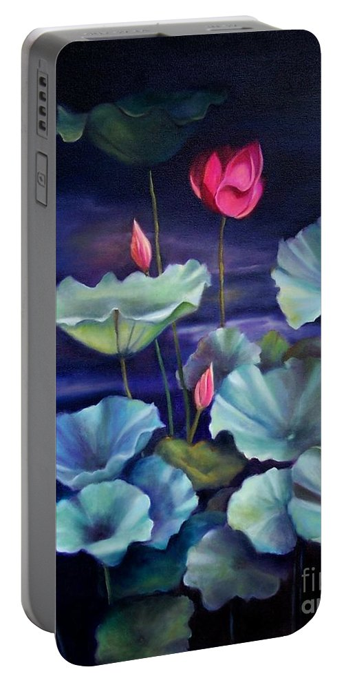 Still Life Portable Battery Charger featuring the painting Lotus On Dark Water by Marlene Book