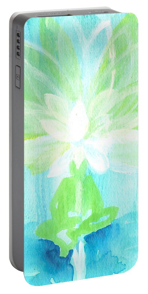 Lotus Flower Portable Battery Charger featuring the painting Lotus Petals Awakening Spirit by Ashleigh Dyan Bayer
