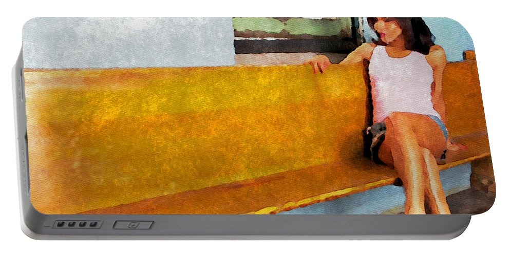 Lady Portable Battery Charger featuring the photograph Lounging Lady by Alice Gipson
