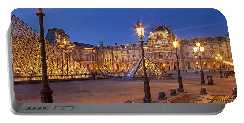 Architectural Portable Battery Charger featuring the photograph Louvre Twilight by Brian Jannsen