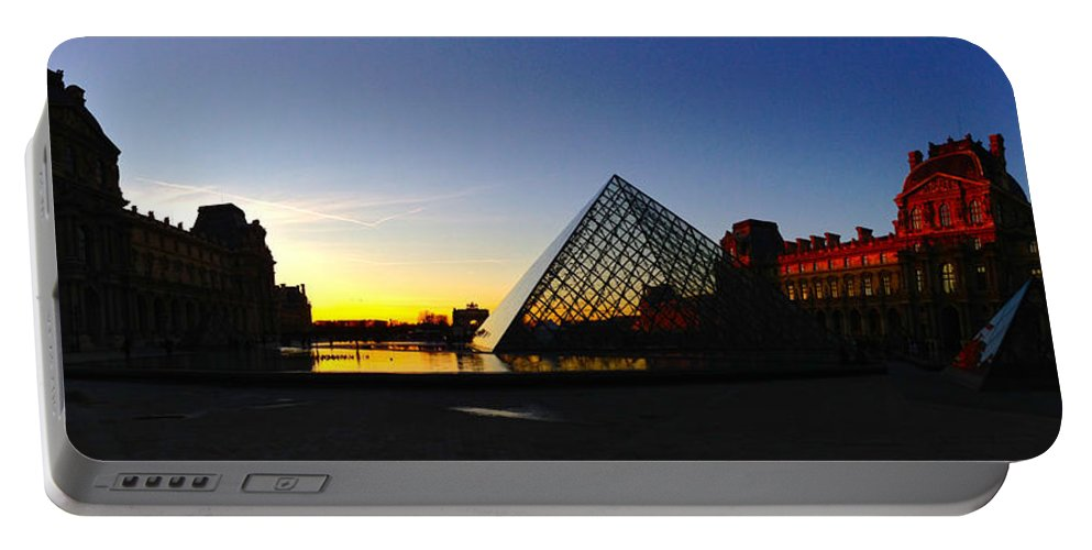 Paris Portable Battery Charger featuring the photograph Louvre's Last Light by Lexi Heft