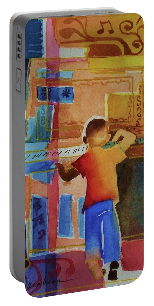 Piano Portable Battery Charger featuring the mixed media Love A Piano 1 by Marilyn Jacobson