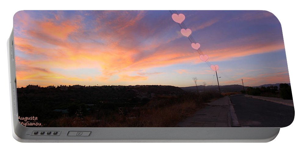 Augusta Stylianou Portable Battery Charger featuring the photograph Love And Sunset by Augusta Stylianou