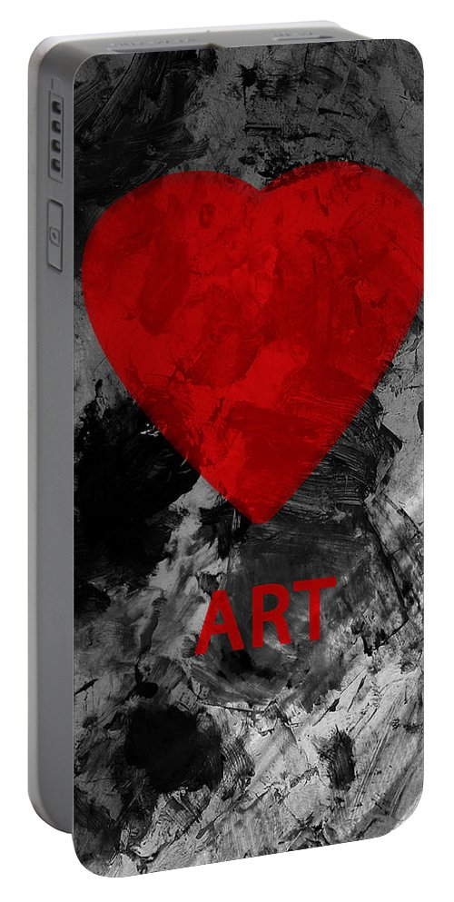 Love Art Portable Battery Charger featuring the mixed media Love Art 1 by Xueling Zou