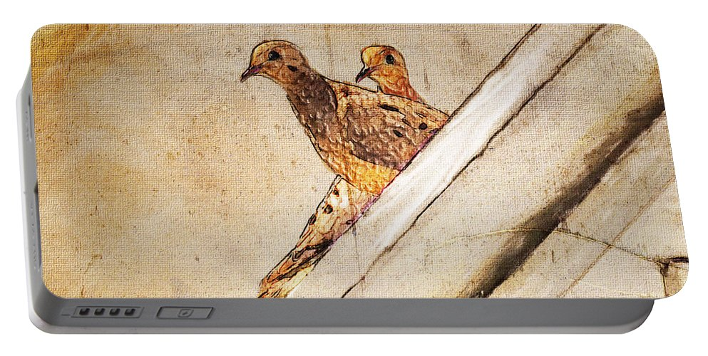 Mourning Doves Portable Battery Charger featuring the painting Love Birds On My Balcony by Angela Stanton