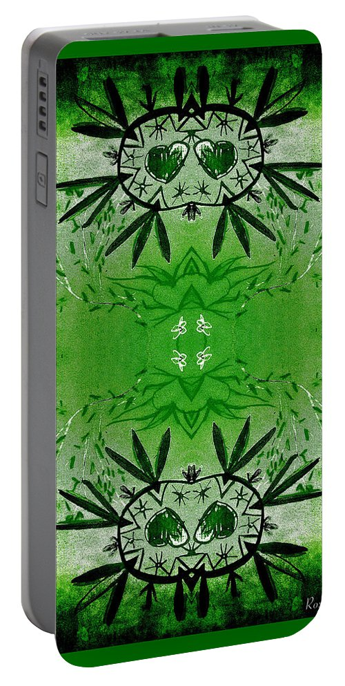 Love Blossom Portable Battery Charger featuring the digital art Love Blossom Nature Green Border by Roxy Hurtubise