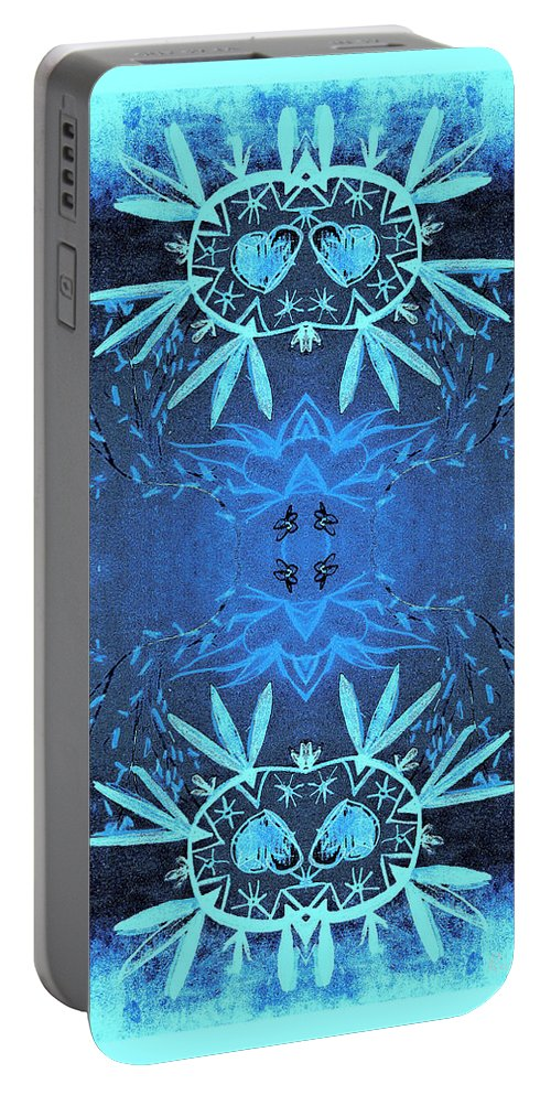 Love Blossom Portable Battery Charger featuring the digital art Love Blossom Ocean Turquoise Border by Roxy Hurtubise
