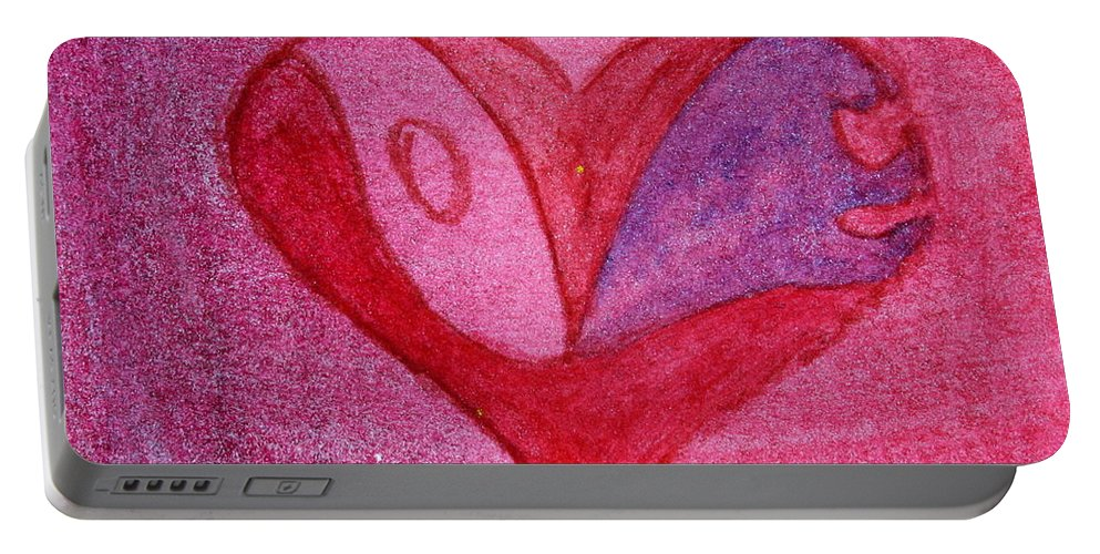 Design Portable Battery Charger featuring the painting Love Heart 2 by Donna Walsh