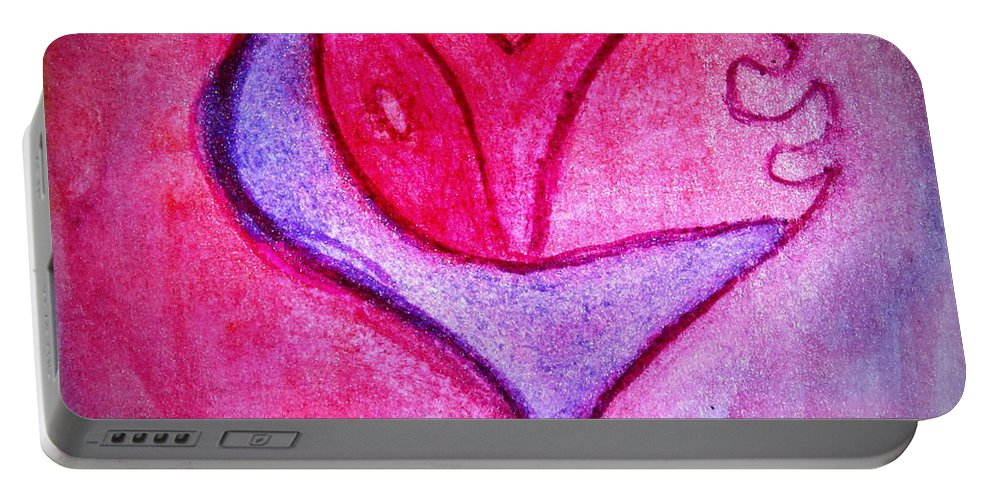 Design Portable Battery Charger featuring the painting Love Heart 3 by Donna Walsh