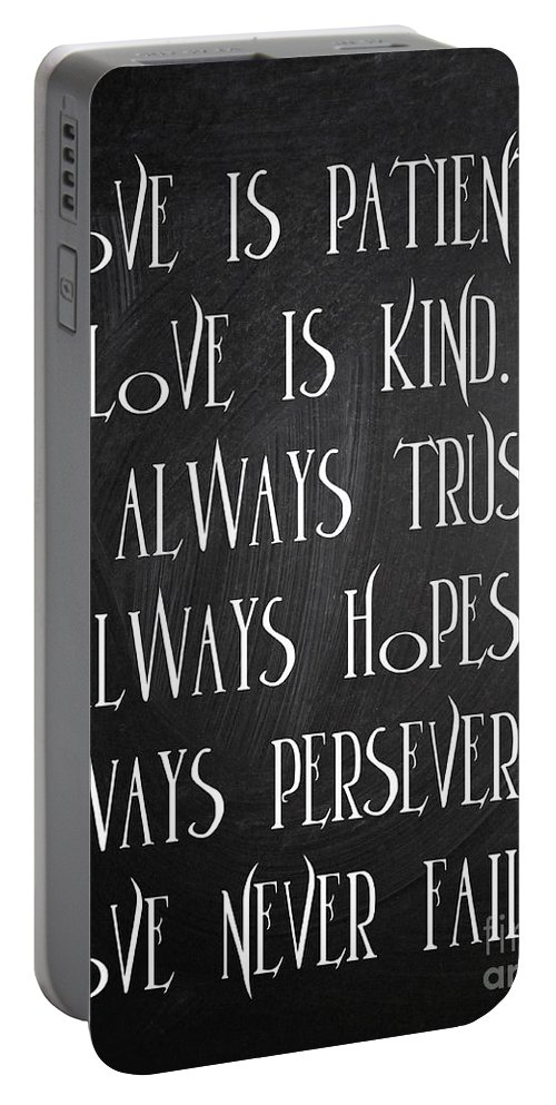 Quotes Portable Battery Charger featuring the digital art Love Is Patient by Voros Edit