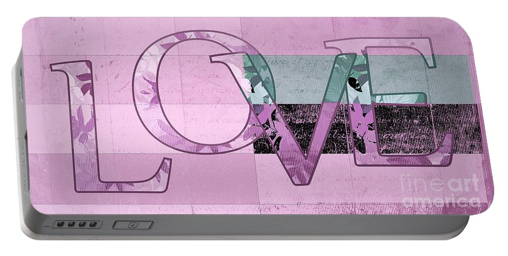 Love Portable Battery Charger featuring the digital art Love - J249115131t-grape by Variance Collections
