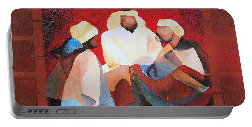 Three Kings Portable Battery Charger featuring the painting Love Joy And Faith To You All This Holiday Season by Taiche Acrylic Art