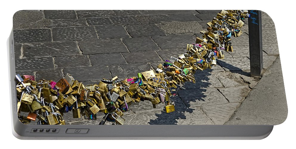 Locks Portable Battery Charger featuring the photograph Love Locks - Florence Italy by Jon Berghoff