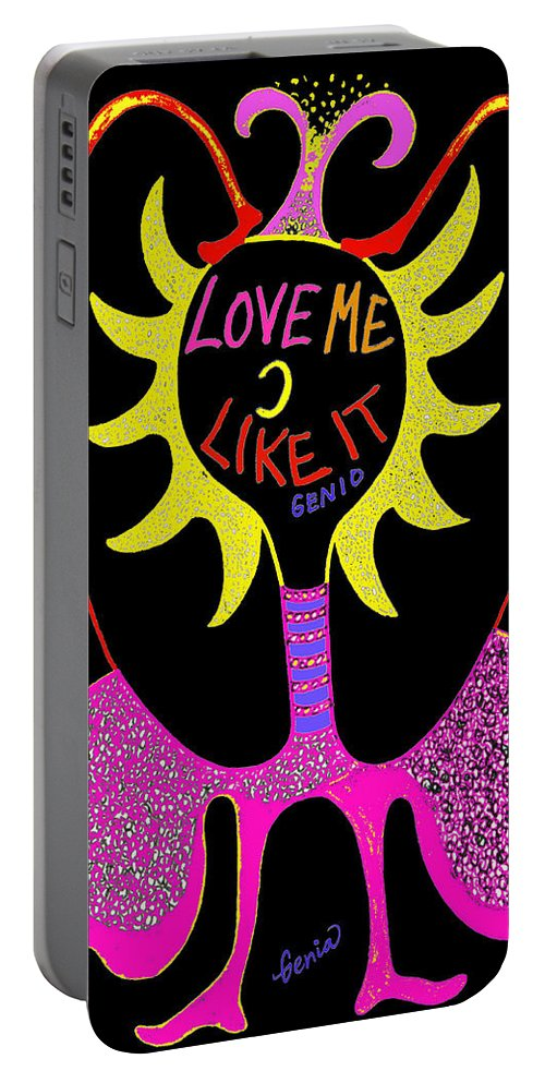 Genio Portable Battery Charger featuring the mixed media Love Me by Genio GgXpress