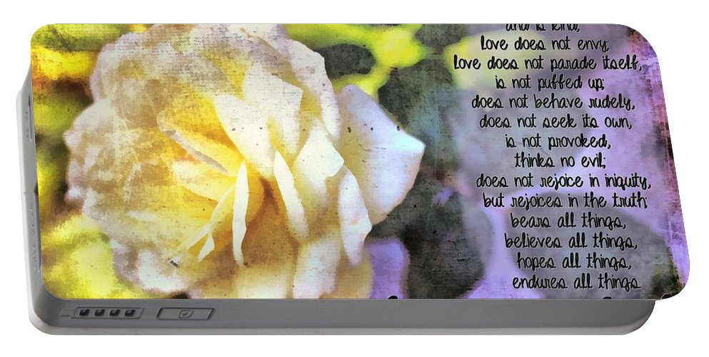 Jesus Portable Battery Charger featuring the digital art Love Never Fails by Michelle Greene Wheeler