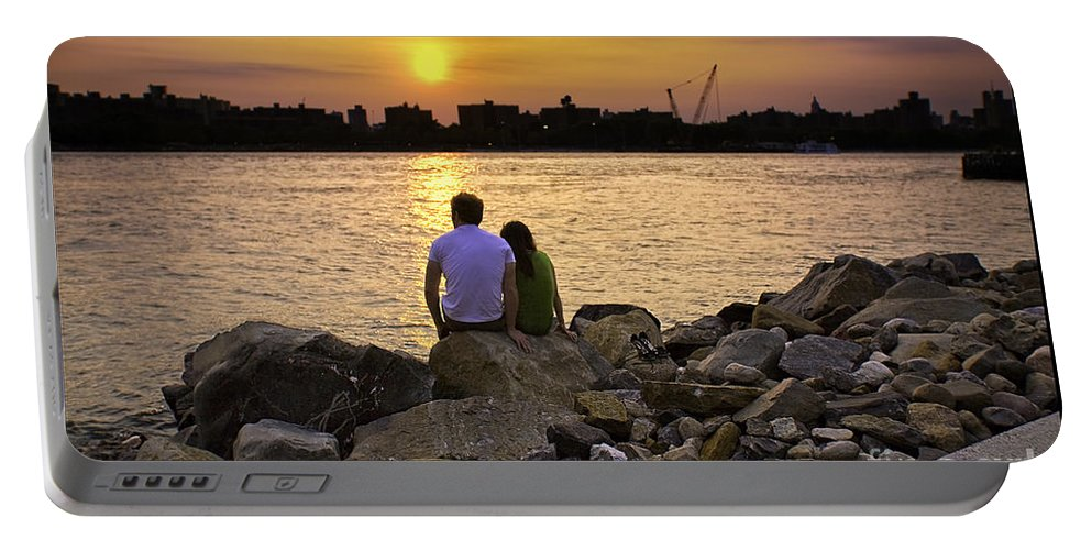 Man Portable Battery Charger featuring the photograph Love On The Rocks In Brooklyn by Madeline Ellis